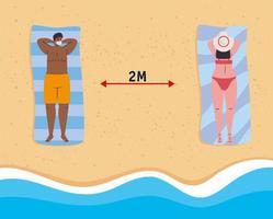 människor som solar och socialt distanserar på stranden vektor
