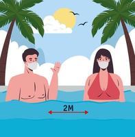 par i baddräkter, social distansering och bär ansiktsmasker på stranden vektor