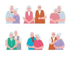 grupp äldre par som ler, gamla kvinnor och gamla män i kärlek vektor