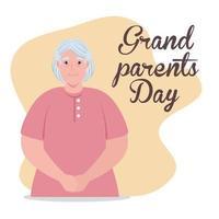 lycklig morföräldrars firande banner med en söt mormor vektor