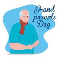 glad morföräldrars dag firande banner med en söt farfar vektor