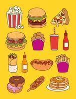 uppsättning snabbmat, lunch eller måltid vektor