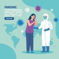 kranke Frau für Coronavirus Pandemie Banner Vorlage vektor