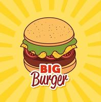 Fast Food, Mittag- oder Essen mit großem Burger vektor