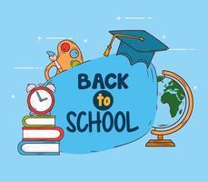 tillbaka till skolans banner med utbildningsmaterial vektor