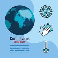 Coronavirus-Pandemie-Banner mit Planeten und Symbolen vektor
