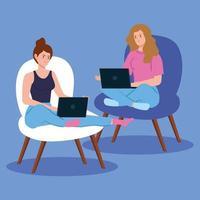 kvinnor som arbetar med bärbara datorer på stolar vektor