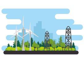 Windkraftanlage für alternative Energieszene vektor