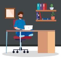 man som arbetar hemifrån på ett skrivbord vektor