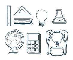 utbildning ikonuppsättning vektor