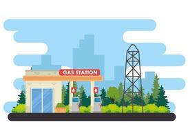 bensinstation, servicestationsstation vektor