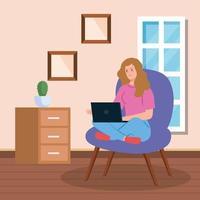 kvinna som arbetar med en bärbar dator på en stol vektor