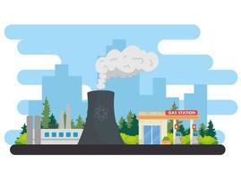Produktion der Energiewirtschaft mit Kraftwerksszene vektor