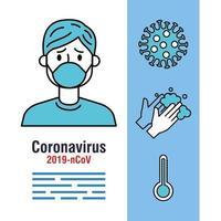 coronavirus pandemisk banner med en sjuk person och ikoner vektor