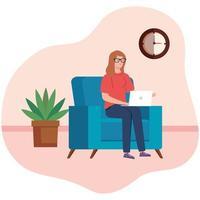 kvinna som arbetar med en bärbar dator i soffan vektor