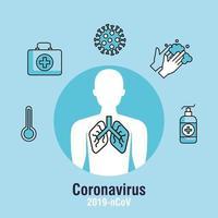 coronavirus pandemisk banner med kroppssilhuett och ikoner vektor
