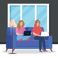 kvinnor som arbetar med bärbara datorer i vardagsrummet vektor