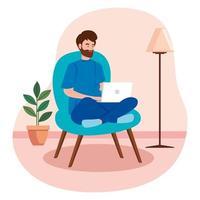 man som arbetar med en bärbar dator på en stol vektor