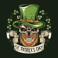 st. Patricks Tagesschädel trägt einen Hut mit Kleeblatt vektor