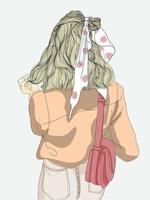langhaarige Frauenillustration für einen Spaziergang im Freien vektor