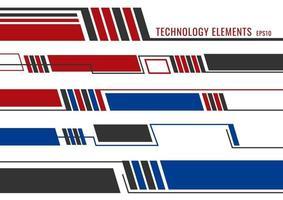 Satz abstrakter futuristischer Elemente der modernen Technologie. rote, blaue und graue geometrische Linien auf weißem Hintergrund