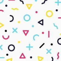 abstraktes buntes geometrisches Muster mit Kreisen, Punkten, Dreiecken, Linien, Kreuzformen auf weißem Hintergrund vektor