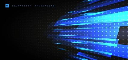 abstrakt teknik futuristiskt koncept. blått ljus med belysning rörelse perspektiv på horisontellt sätt på svart bakgrund. vektor