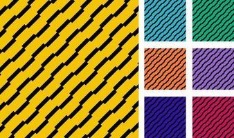 Satz geometrischer Rechteckstreifen diagonal, schwarzer Farbmusterhintergrund. vektor