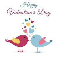 handritade söta vackra fåglar och hjärta för alla hjärtans dag vektor