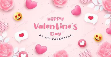 glücklicher Valentinstag Banner oder Hintergrund mit realistischen rosa Herz 3d vektor