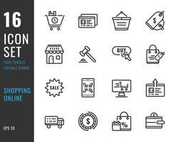 Set mit 16 Online-Shopping-Symbolen im Stil einer dünnen Linie vektor
