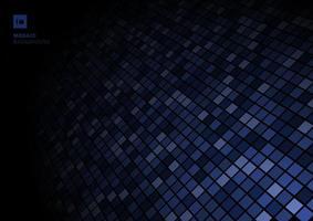 blå mosaik pixelmönster, bleknar ut på svart bakgrundsstruktur. vektor