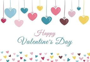 glad Alla hjärtans dag handritade pastellfärgade hjärtan på vit bakgrund vektor