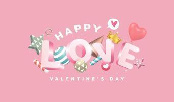 14 februar glücklicher valentinstag fahne mit 3d text design vektor