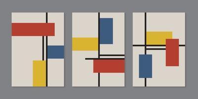 Satz von Broschürenschablonenhintergrund. buntes Muster der geometrischen Rechtecke mit Linien, minimaler Retro-Stil