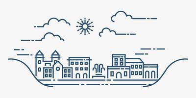 stadsbild i modern platt linje vektor. tunn linje stadslandskap. vektor illustration.