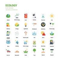 ekologi koncept ikonuppsättning. ekologi platt ikonuppsättning. ikon för webbplats, applikation, tryck, affischdesign etc. vektor