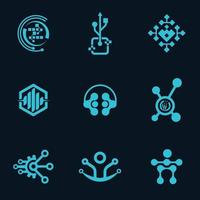professionelles Tech-Logo-Symbol-Vektor-Design-Bündel vektor