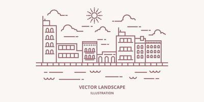 stadsbild i modern platt linje vektor. tunn linje stadslandskap med byggnad, moln, sol, flod. vektor illustration.