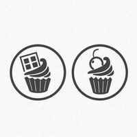 Cupcake-Ikonen-Zeichenillustration