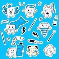 färgglada handritade tänder uttryckssamling vektor