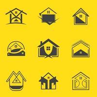 fastighetslogotyp ikon mall för företag och företag set