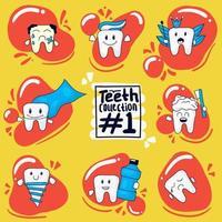 uppsättning handritad söta tänder uttryck vektor