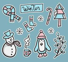 bunte Hand gezeichnete Winteraufkleber-Sammlung
