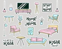 färgglada handritad hygge stil hem möbler klistermärken samling vektor