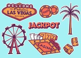 bunte Hand gezeichnete Las Vegas Aufkleber Sammlung vektor