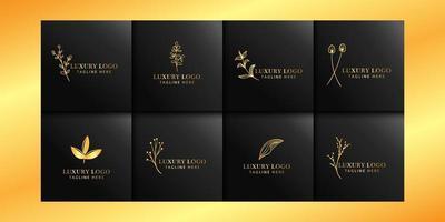 lyxiga blommiga logosamlingar med guld och svart vektor