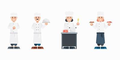 uppsättning kockkaraktärer. modern tecknad man och kvinna med enhetliga karaktärer i platt stil. vektor illustration.