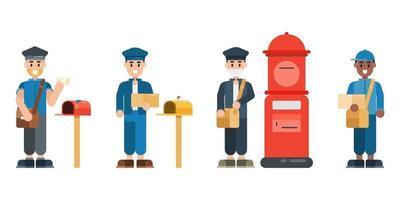 Satz von Postbotenzeichen. Postbote in Uniform mit Briefkasten. Lieferservice-Konzept im flachen Designstil. Vektorillustration. vektor