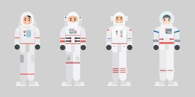 Satz von Astronautenzeichen. moderne Zeichentrickfilm-Raumfahrerfigur im flachen Stil. Vektorillustration. vektor
